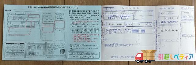家電リサイクル券の見開き・中身の写真