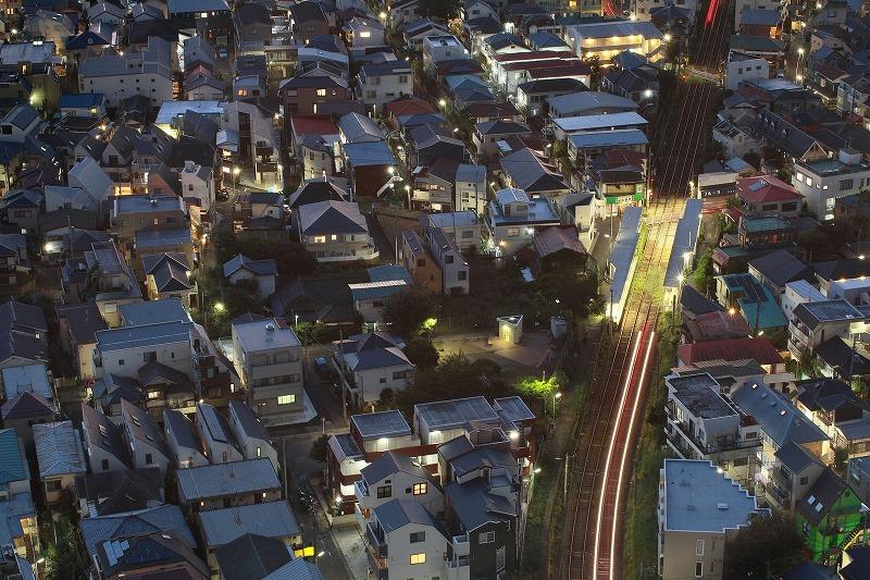 夜の住宅街(上空から)